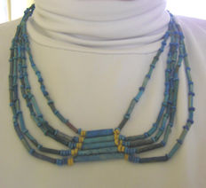 Old Egyptian necklace of blue faience beads - 48 cm.