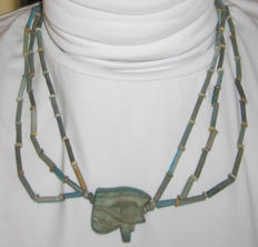 Old Egyptian necklace of faience beads with big wedjat amulet - 49 cm