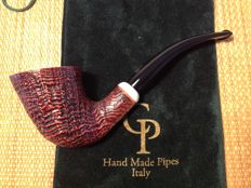 "Paolo Corso ""Black Bass"" pipe, 360 ring grained briar, mother of pearl band, hand made in Italy!!"
