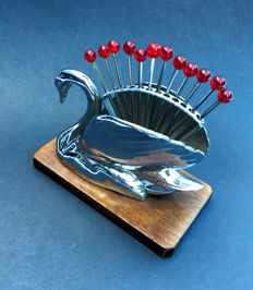 Chrome set of Art Deco cocktail sticks in the form of a swan with sticks with red bakelite buttons