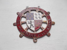 vintage AUTOMOBILE CLUB de  PICARDIE et   de L AISNE  brass  and enamel car badge  original stunning