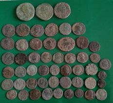 Roman Empire - Varied lot of 52 AE coins from several emperors, mainly Late Empire