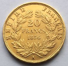 France – 20 Francs 1856 A – Napoleon III – Gold