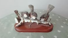 Fontanini - Trio of porcelain sparrows