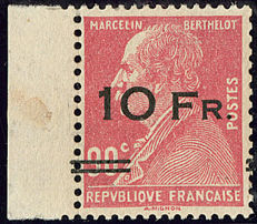 France 1928 - Airmail, Berthelot 10 Francs on 90c, red, signed Roumet with certificate - Yvert no 3.