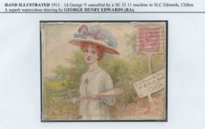 Great Britain - Hand Illustrated 1911 Watercolour by George Henry Edwards RA on 1911 Cover