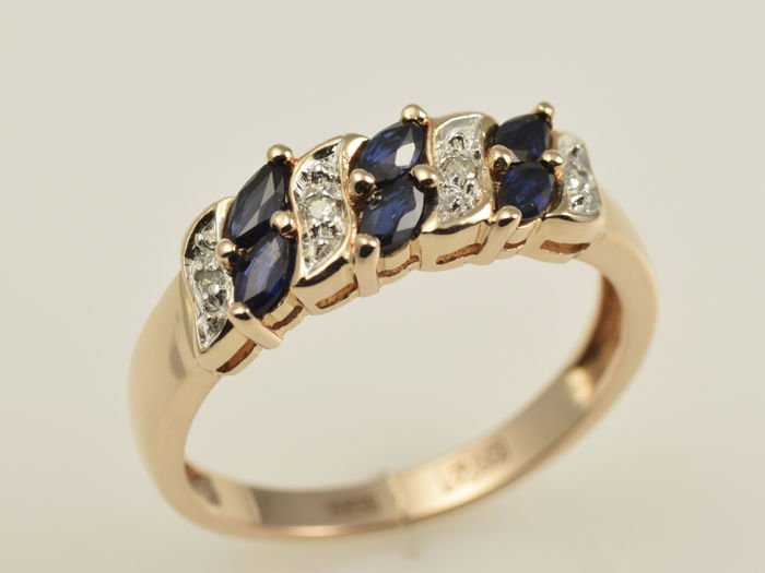 14 kt gold ring with sapphires and diamonds no reserve