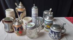 Lot of eleven beer steins