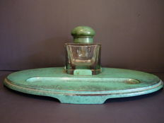 Hugo de Bach Ikora WMF - Art Deco signed turquoise green enamel and kristal inkwell