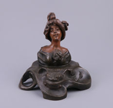 Art Nouveau patinated metal inkwell with lady bust - Cigale par Rousseau