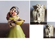 Original Bozner Engel Thun and Set of 2 Putto wall consoles