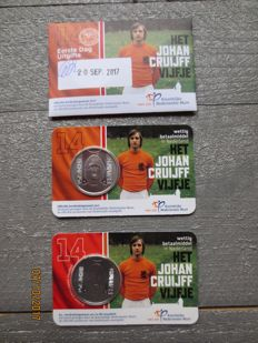 The Netherlands - 5 Euro 2017 'Johan Cruijff Five' (3 pieces in total) in Coin cards, of which 1x First day issue