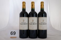 2011 Chateau Talbot, Saint-Julien, Quatrieme Grand Cru Classe, France, 3 Bottles.