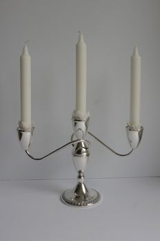 Silver three-armed candle stand, Duchin, United States
