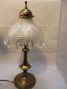 Large size brass bedside lamp with processed glass shade