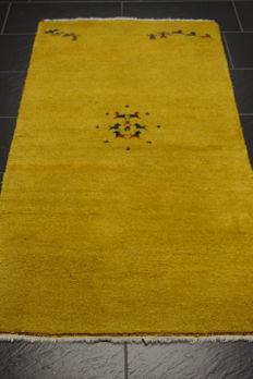 Beautiful Persian carpet Gabbeh wool on wool, Nomad work, made in India, natural colours 90 x 165 cm