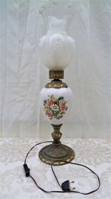 Electric Oil Lamp with Ceramics, Brass and Milk Glass