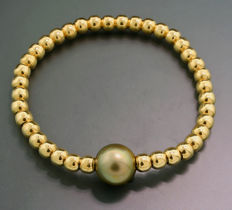 Precious Tahitian pearl bracelet in 750-yellow gold, very fine green gold / bronze coloured Tahiti pearl, 11.5 mm diameter