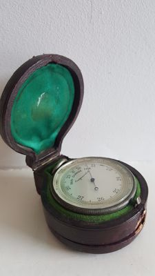 Victorian Leather Cased Pocket Barometer and Mother of pearl dial Compass - England- Dated 1896. 1897.