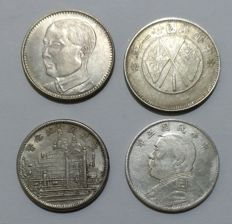 China - 20 Cents 1916, 1929, 1931 and 1932 (4 different) - silver