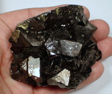 Very nice golden pyrite, black sphalerite and other minerals, very rare from Trepca, Kosovo - 75.33 x 62.18 x 24.90 mm - 227 g