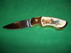 "Franklin Mint - Collector knife - ""Black and Brown Labrador Retriever"" - 24 Carat goldplated - In very good condition"