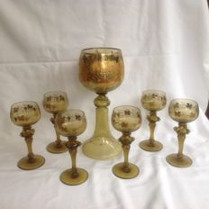 Large goblet with 6 rummer glasses, Germany, early 20th century