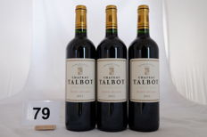 2011 Chateau Talbot, Saint-Julien, Quatrieme Grand Cru Classe - 3 bottles (75cl)