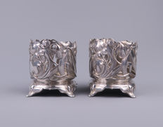 WMF - A pair of Art Nouveau silver-plated pewter wine bottle holders - bottle trays, floral whip