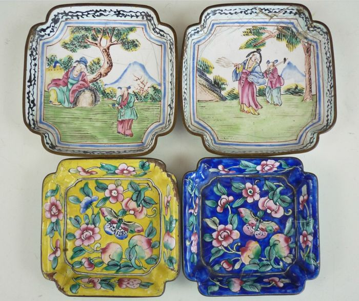 Four late Qing dynasty Chinese / Canton enamelled dishes late 18th and early 20th cent