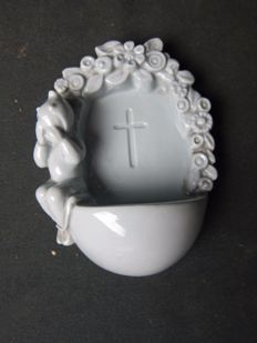 Porcelain holy water font, Belgium, created by TECO c. 1950 - Belgium