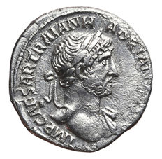Roman Empire – HADRIAN (AD. 117-138) Denarius, Rome mint. P M TR P COS III. Pax standing left, holding olive branch and sceptre.