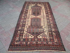 Semi Antique Genuine Hand Knotted Tribal Baluchi Rug  261 x 122 cm