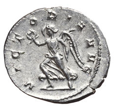 Roman Empire – TRAJAN DECIUS (249-251 AD) Antoninianus. Rome Mint. VICTORIA AVG, Victory running left, holding wreath and palm.