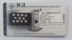 0.81ct 11 Diamonds Round cut  F-G VS-SI IGL Lab   -NO RESERVE