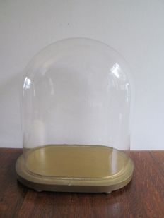 Big old oval box on wooden base - Belgium - ca. 1950