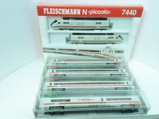 "Fleischmann N - 7440/7442K/7444K/7445K/8121 - 6-part electric train set BR401 011-2 and 401 511-1 ""ICE 1"" of the DB, with LED-lighting"