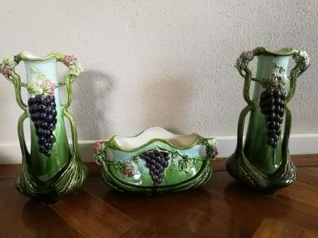 3-Piece Art Nouveau earthenware garniture set with decoration of grape bunches