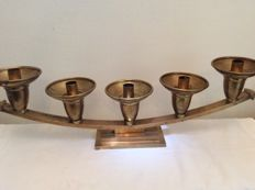 Brass altar (church) candelabra with five-arms in Art Deco style