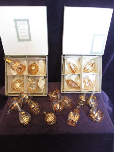 20 Laura Ashley 24 carat gold plate on glass hand finished tree decorations