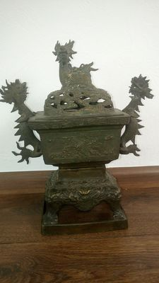 Bronze dragon antique incense burner - China - around 1920