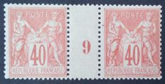 France 1898 – Sage type II, 40 c. pink-orange, dated pair 9 – Yvert no. 94.
