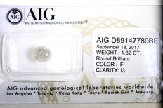 AIG Sealed Diamond - 1.32 ct - F, I3 - * No Reserve Price *