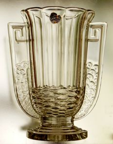 Val St Lambert - Art Deco moulded glass vase 'Romeo'