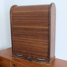 Vintage wooden decorative roller shutter box with lock
