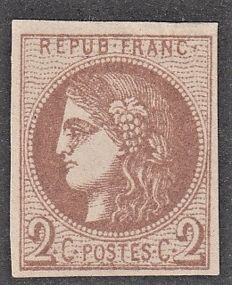 France 1870 - 2c burgundy - Yvert no. 40B