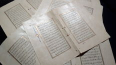 Manuscript; Lot with 24 written pages from an Ottoman Koran on 6 sheets - 18th century