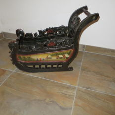 Wooden hand-painted sleigh