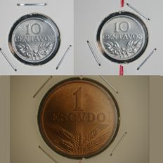 "Portugal – 3 Coins with Dislocated Axis: 10 Centavos 1974 ""Eixo Vertical"" (Vertical Axis) – 10 Centavos 1976 ""Eixo Deslocado 30o"" (Dislocated Axis 30º) & 1 Escudo 1973 ""Eixo Deslocado 15o"" (Dislocated Axis 15º) - Portuguese Republic – Lisbon – AG: 11.05,"