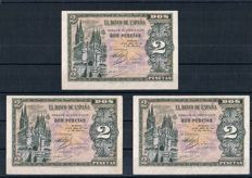 Spain - 3 x 2 Pesetas 1938 - Burgos - Pick 109a - Three correlative banknotes